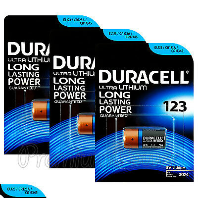 3 x Duracell Ultra Lithium CR123A batteries 3V CR17345 EL123 EXP:2024 Pack of 1