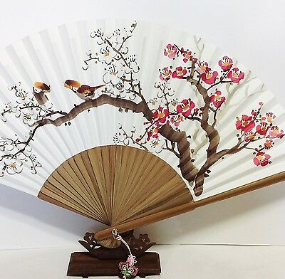 "Korean Art Hand fan "" Apricot tree "" Traditional Collapsible 50cm 11.4"" x 19.6"""