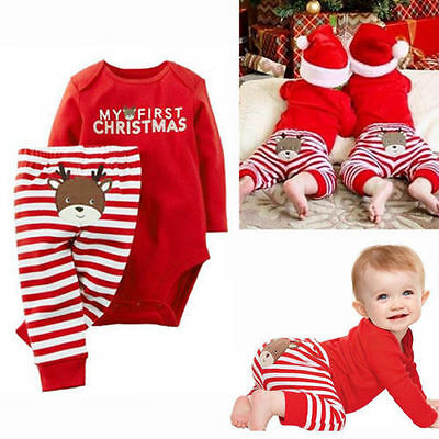 MY First Christmas Newborn Baby Girls Romper Bodysuit Outfits Christmas Xmas