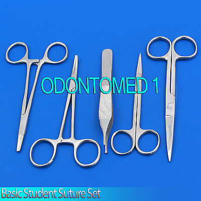 5 Pcs Basic Student Suture Surgical Stainless Steel Kit Brand New Odm