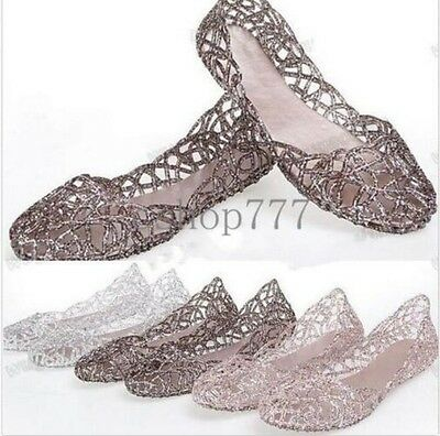 Womens Ventilate Crystal Shoes Jelly Hollow Sandals Slip On Flat Casual Shoes Sz