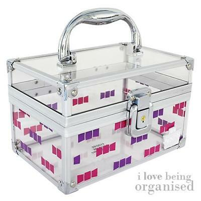 Clear Small Cosmetic Cube | Girly Accessories Box | Pink Purple Bow | Caboodles