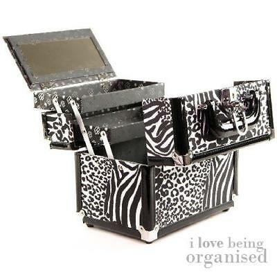Ladies Carry Cosmetic Nail Storage Organiser | Animal Print Makeup Hard Box | Ca