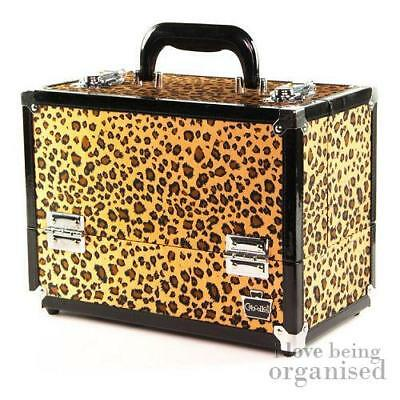 Cheetah Print Nail Cosmetic Makeup Train Case w/ Fold Out Organiser Trays