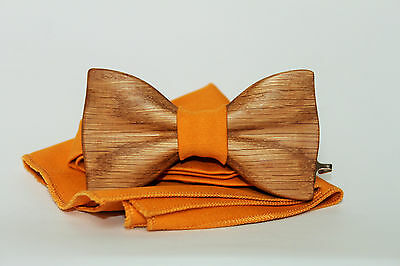 Clip on wood bow tie. Handmade tie in limited edition. Oak wood men's bow tie.