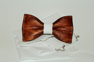 Mens wooden bow tie with pocket square. Wood wedding bowtie. Wood bow tie.