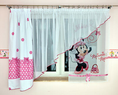 disney minnie mouse gardine kindergardine kinderzimmer baby gardine vorh nge neu eur 22 90. Black Bedroom Furniture Sets. Home Design Ideas