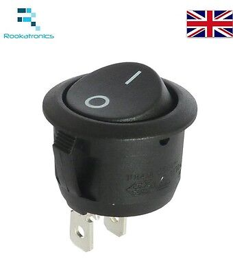 New 20mm Diameter 23mm Lip Small Round Rocker Switch Black 2 Pin ON-OFF