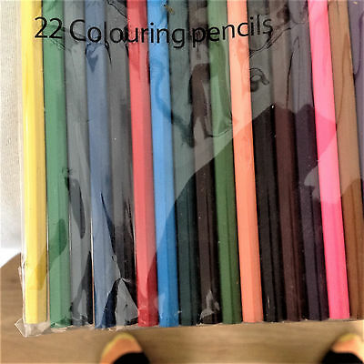 Pack of 22 Coloured Pencils School Stationery Children Kids Party Bag Filler