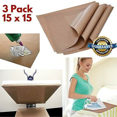 3 Pack Teflon Sheet 15x15 Heat Press Reusable Mat Craft No Stick Iron Sheet Bake