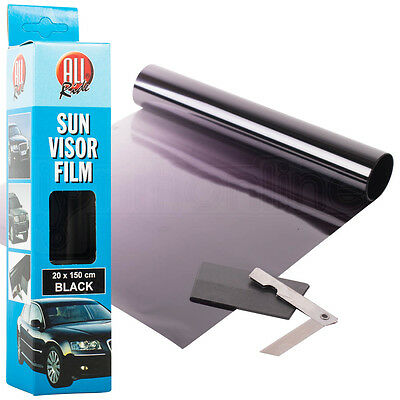 Black Sun Visor Tint Film Strip 20 X 150cm Kit Car Van Bus Winscreen Uv Shade