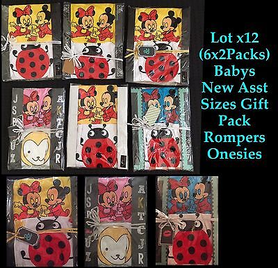Lot x12 (6x2Packs) Babys Wholesale New Asst Sizes Gift Pack Rompers Onesies