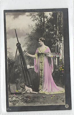 Artist at Work,Painter Lady,Girly with Baby,Unused,Old Postcard