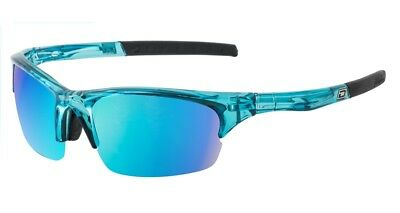Dirty Dog Ecco Golfing Sport Sunglasses in Crystal Blue with Blue Mirror Lens