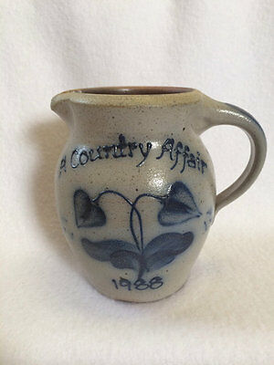 Rockdale Union Stoneware 1988 A Country Affair Pitcher Jug Salt Glaze Number 129