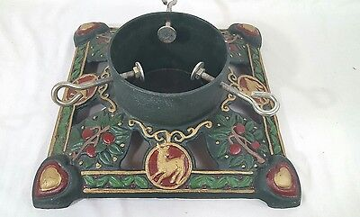Vtg Cast Iron Christmas Tree Stand Deer, Reindeer, Hearts  Holly Ornate Metal