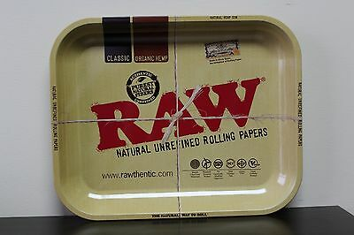 "Raw Tin Metal Large Full Size Roll Cigarette Rolling Tray 13-1/2"" x 11"""