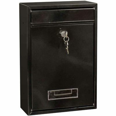 Post Box Steel Square Large Letter Mailbox Wall Mounted Lockable Key Outdoor