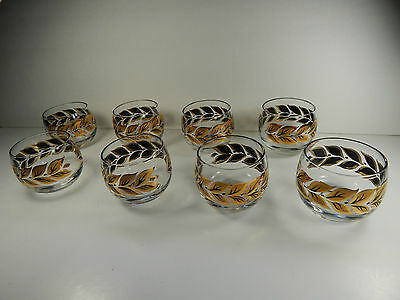 8 Vintage 60's Roly Poly Glasses with Gold Leaf Pattern.