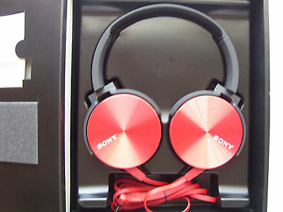 Genuine Sony MDR-XB450AP Extra Bass Smartphone Stereo Headphones - Red -NEW