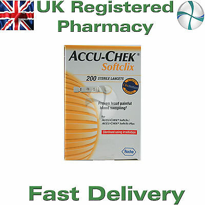 Accu Chek SOFTCLIX lancets 200 lancets virtually pain-free testing from Roche