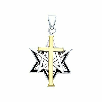 Cross Pentacle Star Of David Pendant by Peter Stone sterling silver very cool