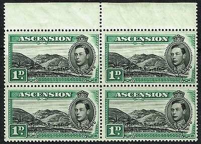 SG 39 ASCENSION 1938 - 1d BLACK & GREEN TOP MARG. BLOCK OF 4 - MOUNTED MINT