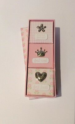 First Impressions 3-in-1 Baby Girl First Tooth/Curl/Hospital Bracelet Box (Pink)