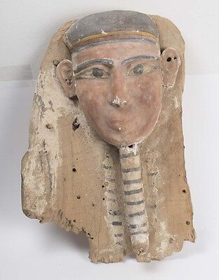 Ancient Egyptian Mummy Wood Mask late Period c.620 BC. Size of the Mask 19 inch