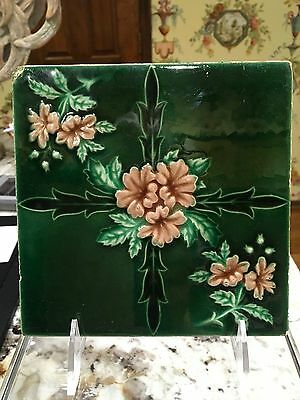 English Tile Art Nouveau Style Green Pink Floral