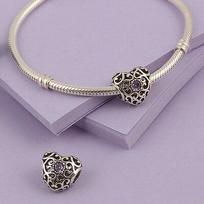 REAL 925 Silver Sterling FEBRUARY SIGNATURE HEART BIRTHSTONE CHARM for bracelets