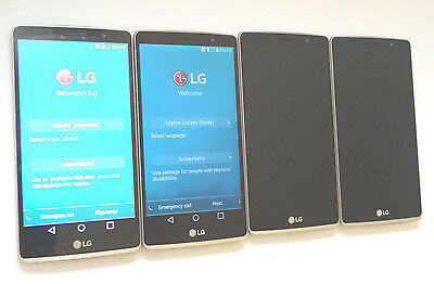 Lot of 4 LG G4 Stylus H635C Claro 8GB Gold Smartphones All Power On AS-IS GSM
