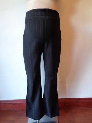 Dp's Maternity Smart Black On Bump Pinstriped Bootcut Work Trousers Size 14