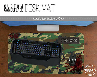 Any Camo Pattern CLAN TAG / NAME - Gamer Desk Mat w/ Custom Name