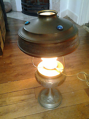 Antique French Copper Oil Kerosene Table Lamp Converted To Electric
