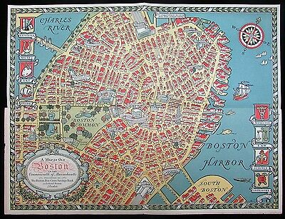 Boston buildings Common State House Beacon Hill 1929 Capon cartoon pictorial map