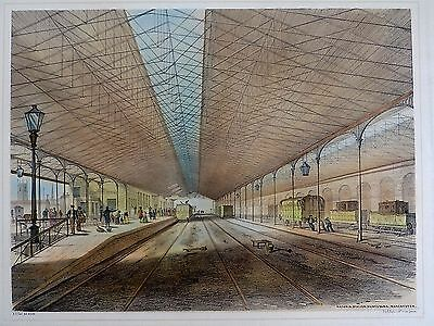 1845 Tait Lithograph Manchester Victoria Railway Station Antique Print Train