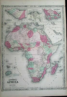 Africa Liberia Nile Delta Cape Colony Mts. of Moon c.1865 antique large map