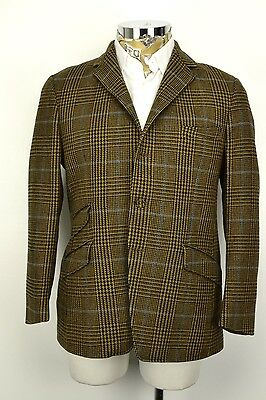 "40"" Regular 3 Button & Pocket Prince of Wales Check Blazer Jacket Brown Blue"