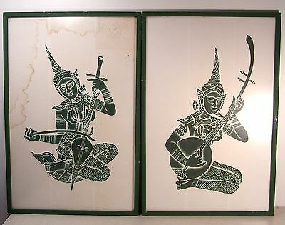 2 Authentic Angkor Wat Green Temple Rubbings of Female Musicians - very early