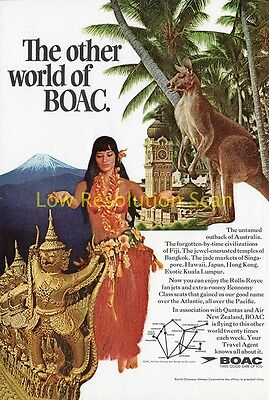 Boac, The Other Side, Qantas, Air New Zealand - Vintage Advert, Ad 1968 Original