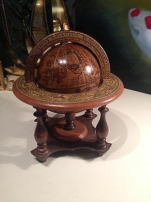 "Vintage Old World Wooden Zodiac Globe Made in ITALY 11.5"" Tall"
