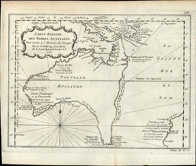 Australia New Holland New Zeland Tasmania Van Diemen's 1753 antique engraved