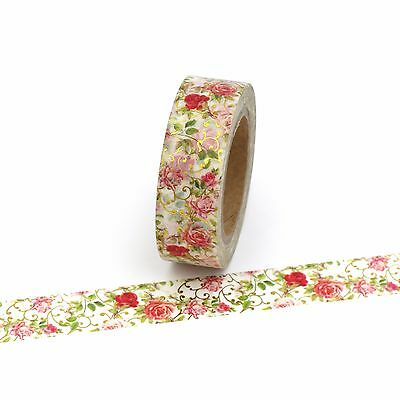 Floral Washi Tape Gold Foil Red Flowers 15mm x 10m