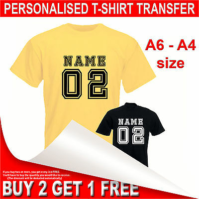 Personalised Iron on T-shirt Transfer printing Custom Name & Number Print A6-A4