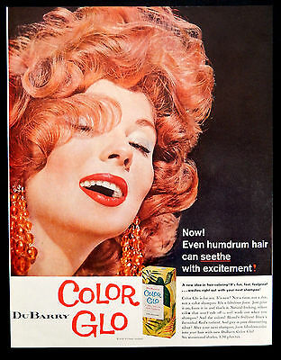 Vintage 1958 DuBarry Red Color Glo hair color advertisement print ad art.
