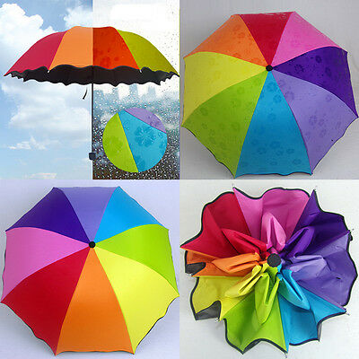 Foldable Rainbow Colors Windproof Anti UV / Rain Umbrella Parasol Portable