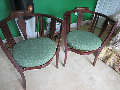 Pair of Antique Acent Edwardian Mahogany Tub Chairs