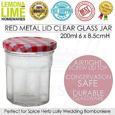 Red Gingham Lid Glass Jar 200ml Storage Conserve Jam Wedding Favour Kitchen Bulk