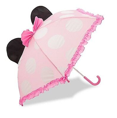 Disney Store Authentic Minnie Mouse Girls Umbrella w/ Ears & Bow